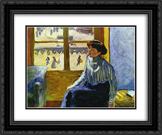 Young Woman Before the Window 24x20 Black or Gold Ornate Framed and Double Matted Art Print by Pierre Bonnard