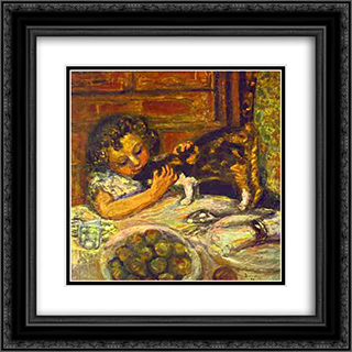Little Girl with a Cat 20x20 Black or Gold Ornate Framed and Double Matted Art Print by Pierre Bonnard