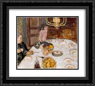 Lunch at Le Grand Lamps 22x20 Black or Gold Ornate Framed and Double Matted Art Print by Pierre Bonnard
