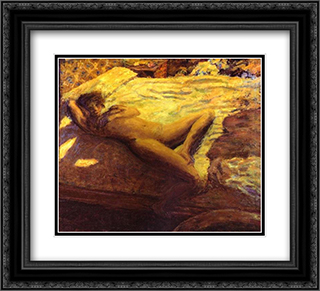 Woman Reclining on a Bed, or The Indolent Woman 22x20 Black or Gold Ornate Framed and Double Matted Art Print by Pierre Bonnard