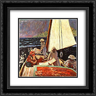 Sea Landscape 20x20 Black or Gold Ornate Framed and Double Matted Art Print by Pierre Bonnard