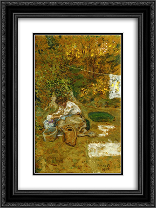 The Washing 18x24 Black or Gold Ornate Framed and Double Matted Art Print by Pierre Bonnard