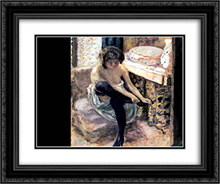 Woman in Black Stockings 24x20 Black or Gold Ornate Framed and Double Matted Art Print by Pierre Bonnard