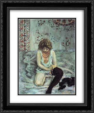 Woman with Black Stockings 20x24 Black or Gold Ornate Framed and Double Matted Art Print by Pierre Bonnard