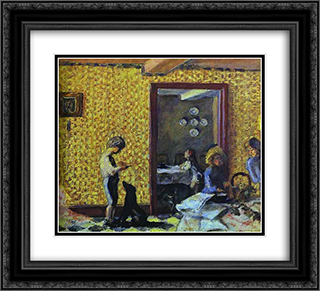 The Terrasse Children with Black Dog 22x20 Black or Gold Ornate Framed and Double Matted Art Print by Pierre Bonnard
