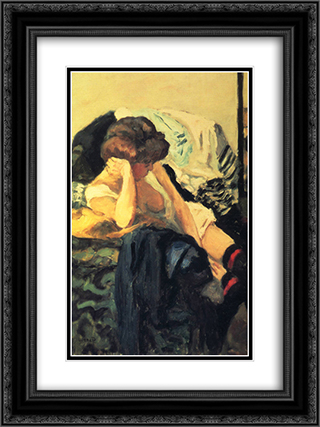 The Red Garter 18x24 Black or Gold Ornate Framed and Double Matted Art Print by Pierre Bonnard