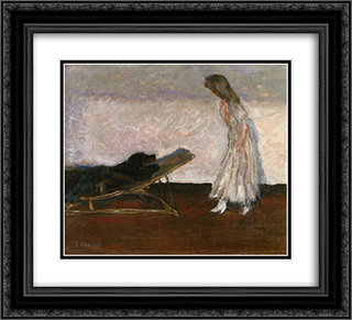 Marthe and the dog, Black 22x20 Black or Gold Ornate Framed and Double Matted Art Print by Pierre Bonnard