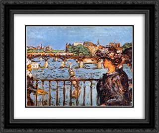 The Pont des Arts 24x20 Black or Gold Ornate Framed and Double Matted Art Print by Pierre Bonnard
