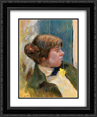 Study for Profile of a Woman in a Bow Tie 20x24 Black or Gold Ornate Framed and Double Matted Art Print by Pierre Bonnard