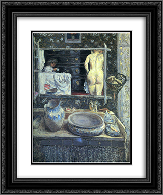 Mirror on the Wash Stand 20x24 Black or Gold Ornate Framed and Double Matted Art Print by Pierre Bonnard