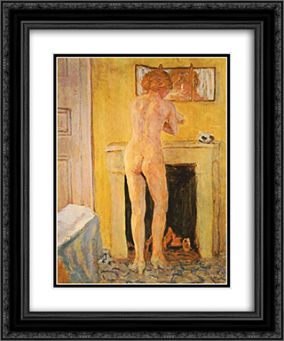 Nude at the Fireplace 20x24 Black or Gold Ornate Framed and Double Matted Art Print by Pierre Bonnard