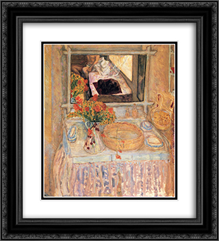 Toilet with a bouquet red and yellow 20x22 Black or Gold Ornate Framed and Double Matted Art Print by Pierre Bonnard