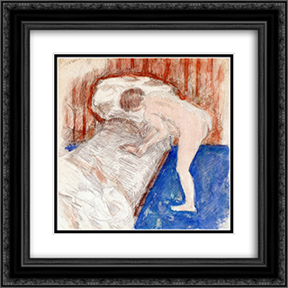 Nude in an Interior 20x20 Black or Gold Ornate Framed and Double Matted Art Print by Pierre Bonnard