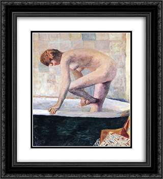 Nude Washing Feet in a Bathtub 20x22 Black or Gold Ornate Framed and Double Matted Art Print by Pierre Bonnard