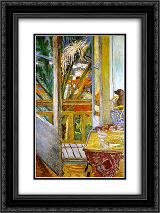 The door window with dog 18x24 Black or Gold Ornate Framed and Double Matted Art Print by Pierre Bonnard