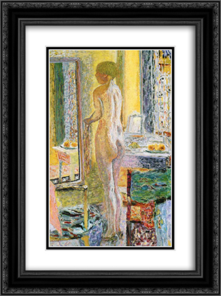 Nude Before a Mirror 18x24 Black or Gold Ornate Framed and Double Matted Art Print by Pierre Bonnard