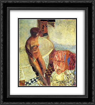 Nude by the Bath Tub 20x22 Black or Gold Ornate Framed and Double Matted Art Print by Pierre Bonnard