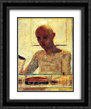 Self Portrait in a Shaving Mirror 20x24 Black or Gold Ornate Framed and Double Matted Art Print by Pierre Bonnard