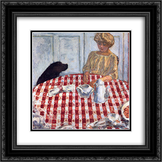 The Red Checkered Tablecloth 20x20 Black or Gold Ornate Framed and Double Matted Art Print by Pierre Bonnard