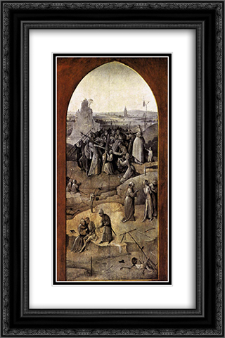 Tiptych of Temptation of St Anthony 16x24 Black or Gold Ornate Framed and Double Matted Art Print by Hieronymus Bosch