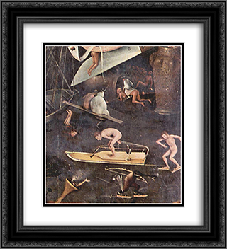 The Garden of Earthly Delights (detail) 20x22 Black or Gold Ornate Framed and Double Matted Art Print by Hieronymus Bosch