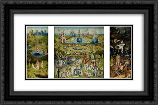 The Garden of Earthly Delights 24x16 Black or Gold Ornate Framed and Double Matted Art Print by Hieronymus Bosch