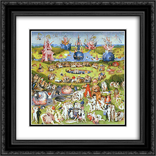 The Garden of Earthly Delights (detail) 20x20 Black or Gold Ornate Framed and Double Matted Art Print by Hieronymus Bosch