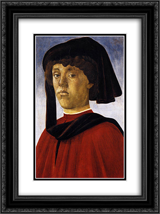 Portrait of a Young Man 18x24 Black or Gold Ornate Framed and Double Matted Art Print by Sandro Botticelli