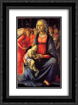 The Virgin and Child surrounded by Five Angels 18x24 Black or Gold Ornate Framed and Double Matted Art Print by Sandro Botticelli