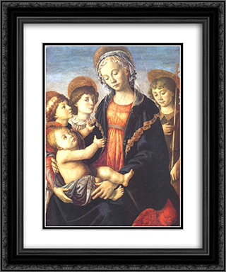 The Virgin and Child with Two Angels and St. John the Baptist 20x24 Black or Gold Ornate Framed and Double Matted Art Print by Sandro Botticelli