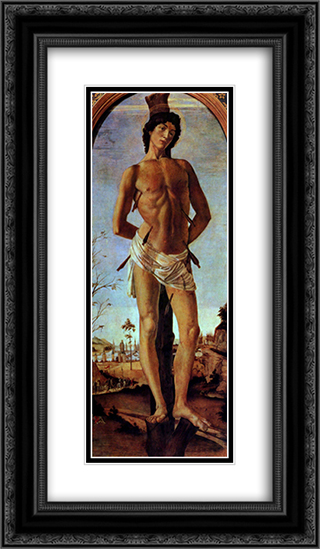 Sebastian 14x24 Black or Gold Ornate Framed and Double Matted Art Print by Sandro Botticelli