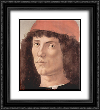 Portrait of a young man with red cap 20x22 Black or Gold Ornate Framed and Double Matted Art Print by Sandro Botticelli