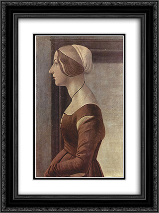 Portrait of a young woman 18x24 Black or Gold Ornate Framed and Double Matted Art Print by Sandro Botticelli