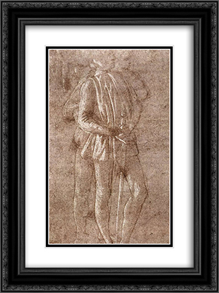 Study of two standing figures 18x24 Black or Gold Ornate Framed and Double Matted Art Print by Sandro Botticelli