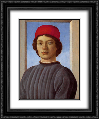 Portrait of a young man with red cap 20x24 Black or Gold Ornate Framed and Double Matted Art Print by Sandro Botticelli