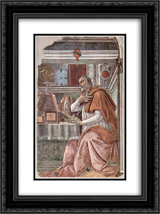 St Augustine 18x24 Black or Gold Ornate Framed and Double Matted Art Print by Sandro Botticelli