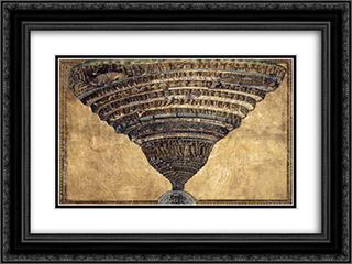The Abyss of Hell 24x18 Black or Gold Ornate Framed and Double Matted Art Print by Sandro Botticelli