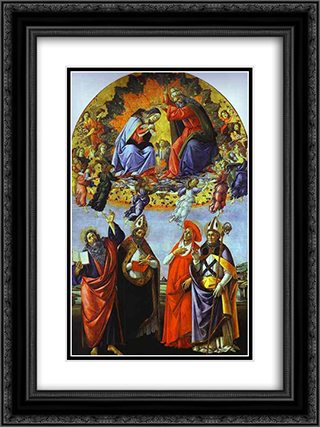 The Coronation of the Virgin (Altarpiece of St. Mark) 18x24 Black or Gold Ornate Framed and Double Matted Art Print by Sandro Botticelli