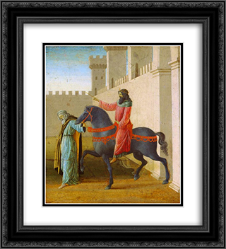 The Triumph of Mordecai, from The Story of Esther 20x22 Black or Gold Ornate Framed and Double Matted Art Print by Sandro Botticelli