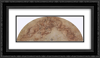Three Angels 24x14 Black or Gold Ornate Framed and Double Matted Art Print by Sandro Botticelli