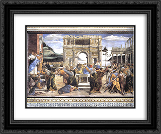 The Punishment of Korah, Dathan and Abiram 24x20 Black or Gold Ornate Framed and Double Matted Art Print by Sandro Botticelli
