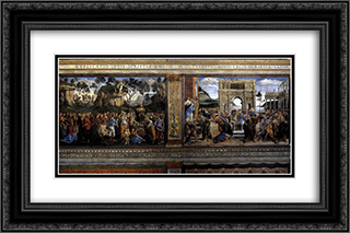 Scene from the Life of Moses (Scenes on the left) 24x16 Black or Gold Ornate Framed and Double Matted Art Print by Sandro Botticelli