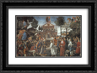 The Temptation of Christ 24x18 Black or Gold Ornate Framed and Double Matted Art Print by Sandro Botticelli