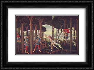 The Story of Nastagio degli Onesti (I), from The Decameron, by Boccaccio 24x18 Black or Gold Ornate Framed and Double Matted Art Print by Sandro Botticelli