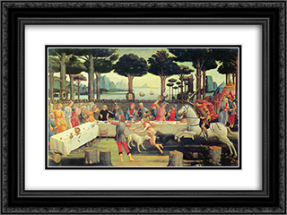 The Story of Nastagio Degli Onesti - The Banquet in the Pine Forest 24x18 Black or Gold Ornate Framed and Double Matted Art Print by Sandro Botticelli