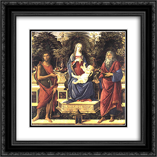 The Virgin and Child Enthroned 20x20 Black or Gold Ornate Framed and Double Matted Art Print by Sandro Botticelli