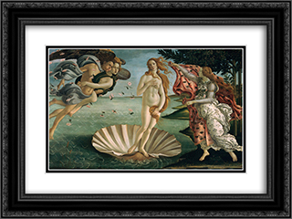 The Birth of Venus 24x18 Black or Gold Ornate Framed and Double Matted Art Print by Sandro Botticelli