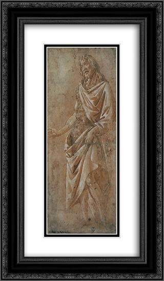 Saint Jean Baptiste 14x24 Black or Gold Ornate Framed and Double Matted Art Print by Sandro Botticelli