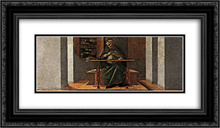 St Augustine in his Study, predella panel from the Altarpiece of St Mark 24x14 Black or Gold Ornate Framed and Double Matted Art Print by Sandro Botticelli
