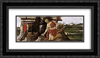 St Jerome in Penitence, predella panel from the Altarpiece of St Mark 24x14 Black or Gold Ornate Framed and Double Matted Art Print by Sandro Botticelli